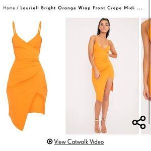 PrettyLittleThing Orange Wrap Front Midi Dress